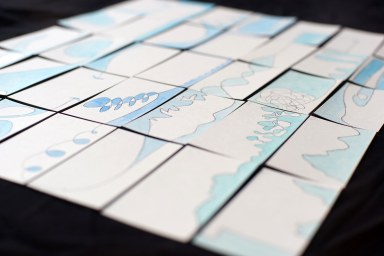 hand made water color business cards story telling